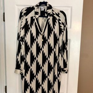 DVF silk black and cream dress with belt